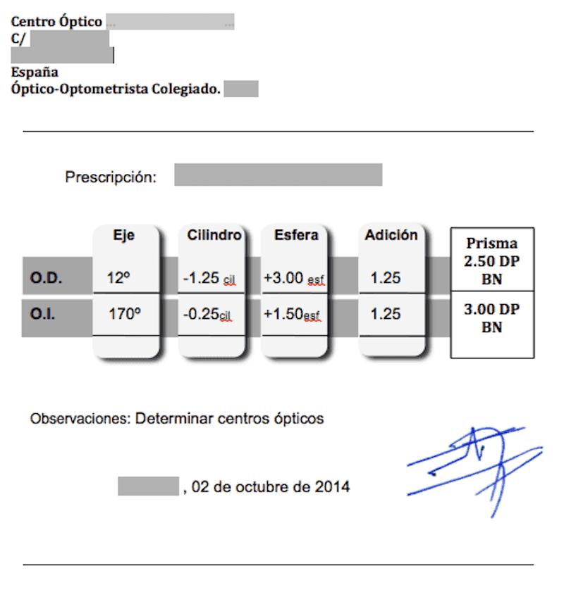 valores graduación gafas receta óptica